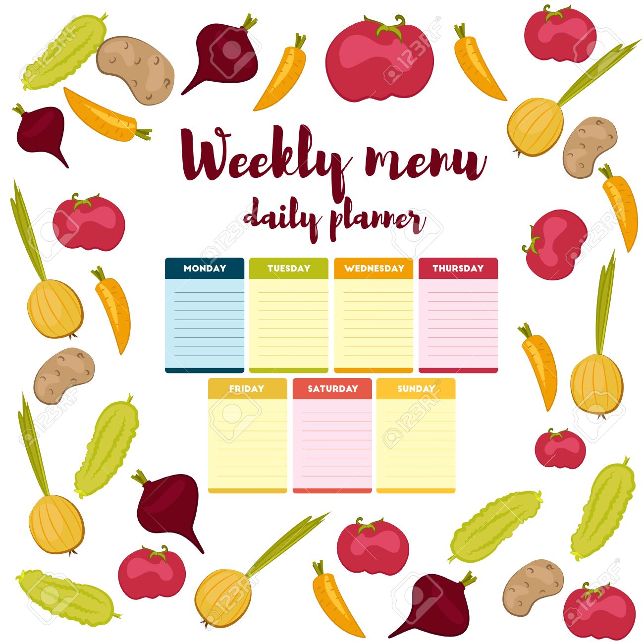 paper note week healthy eating daily routine breakfast lunch