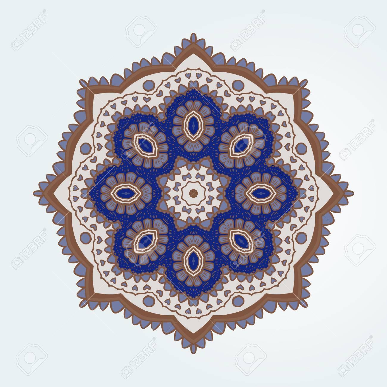 Buddhist Philosophy Mandala Blue Colored Lotus Pattern On The Background Yoga Asanas And Meditation