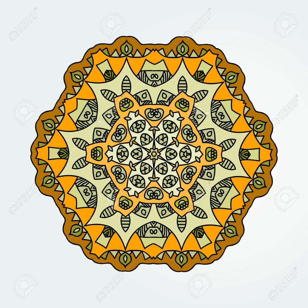 Buddhist Philosophy Mandala Yellow Color Lotus Pattern On The Background Yoga Asanas And Meditation