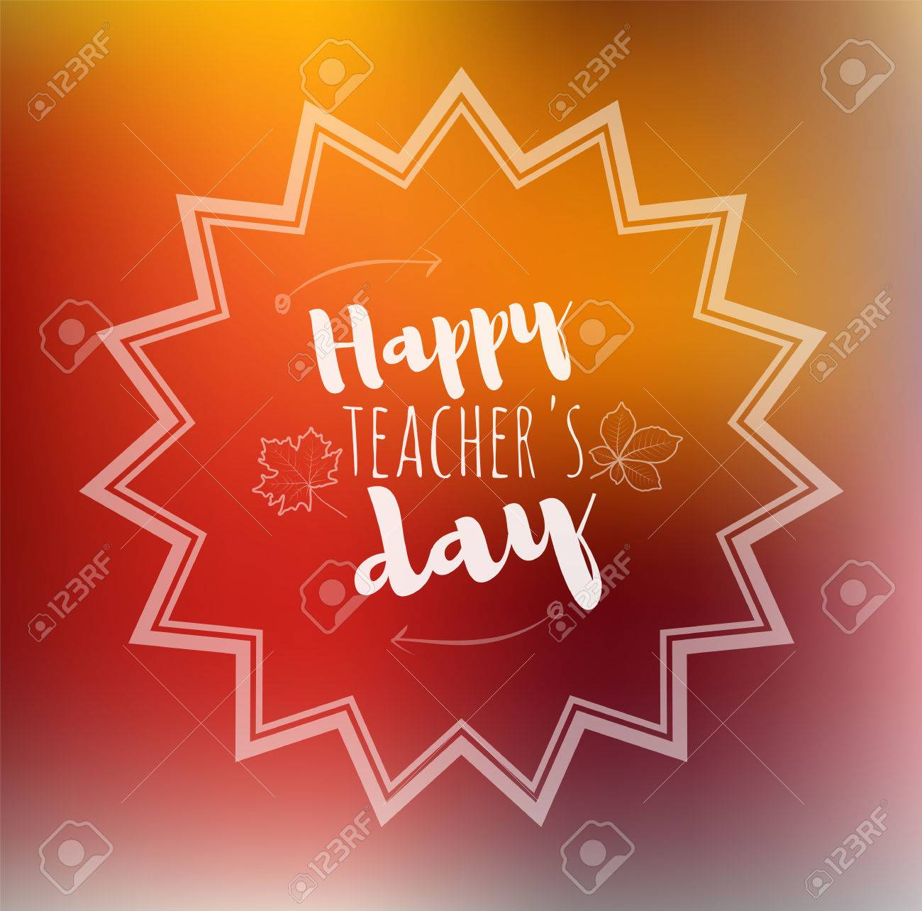 Greeting card happy teachers day abstract border orange background greeting card happy teachers day abstract border orange background with maple leaf written chalk m4hsunfo