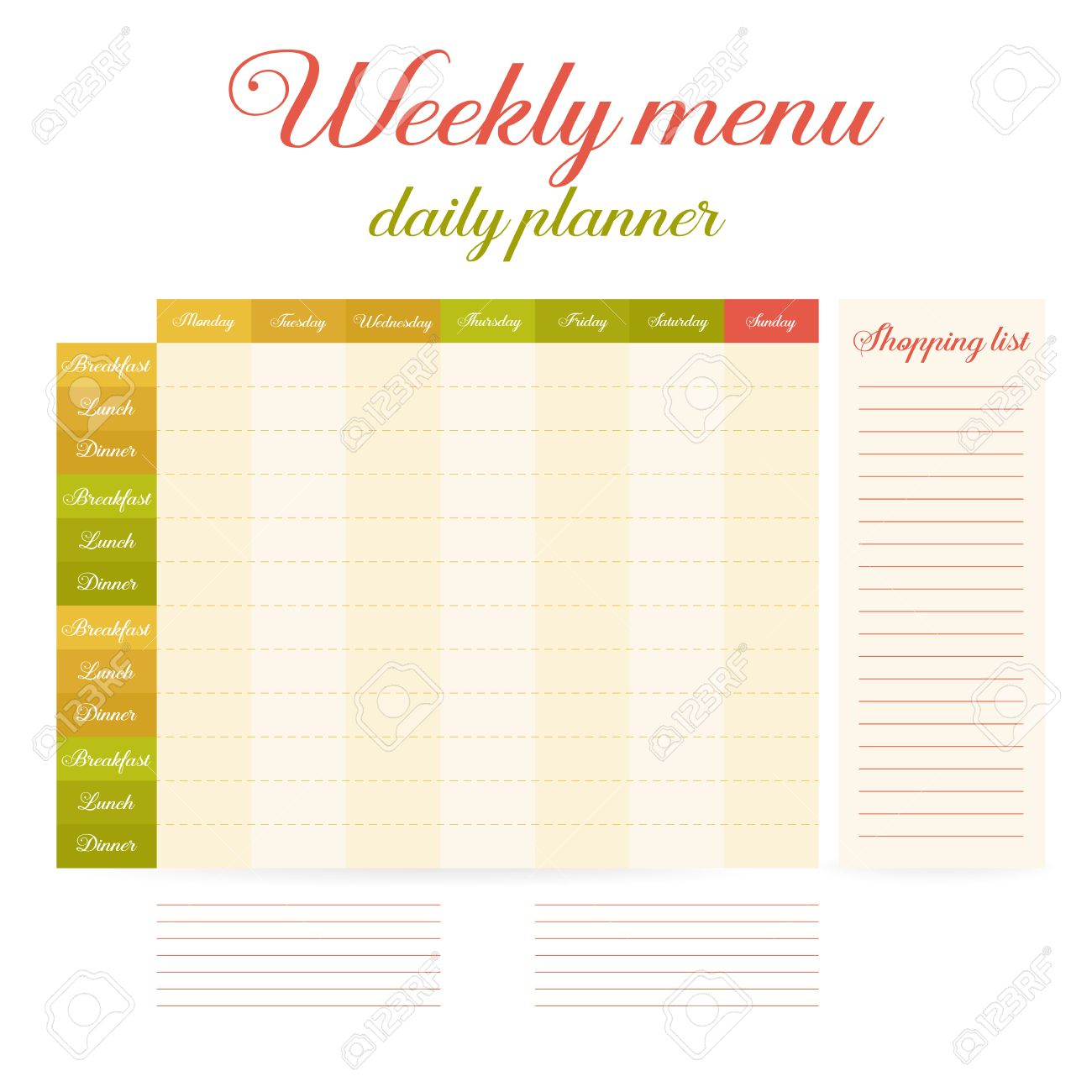 Paper Note Week Healthy Eating Daily Routine. Breakfast Lunch, Dinner.  Weekly Menu Calendar  Menu Calendar Template