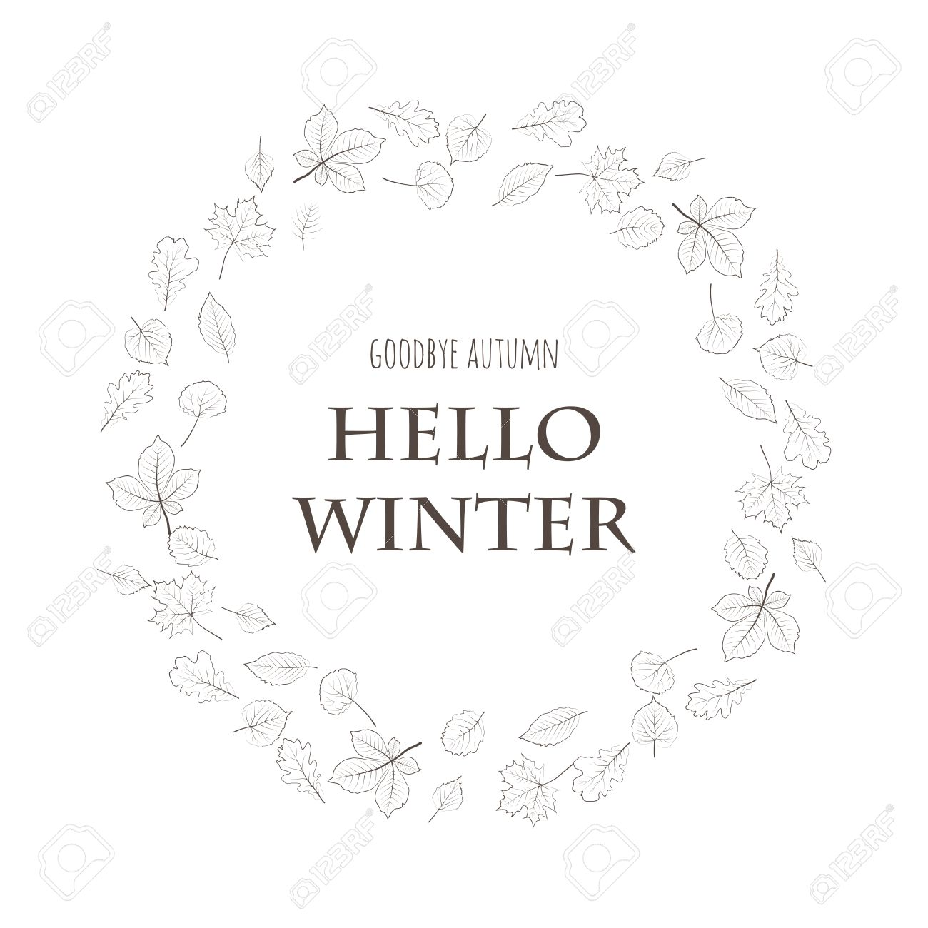 Goodbye autumn hello winter forest tree leaves lettering card goodbye autumn hello winter forest tree leaves lettering card design white background season kristyandbryce Image collections