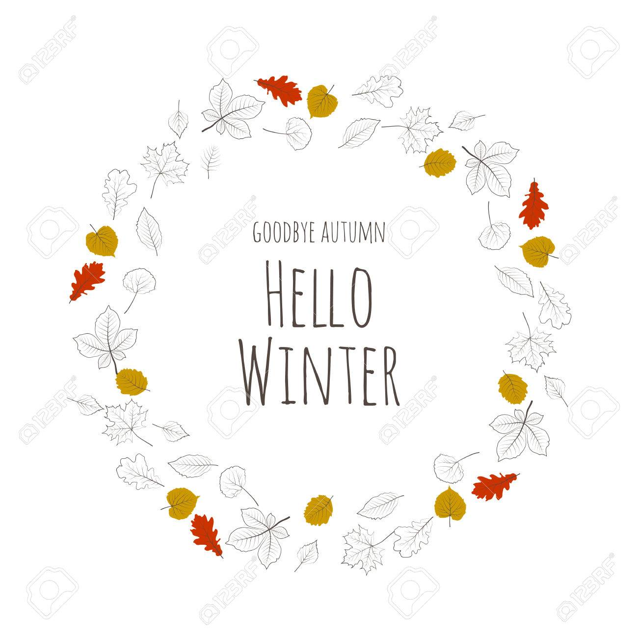 Beau Hello Winter. Forest Tree Colored Leaves Lettering. Card Design White  Background. Season Cards
