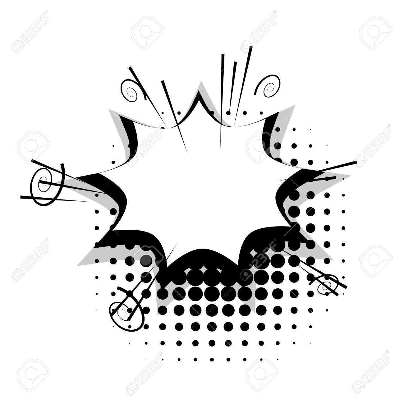 Blank Template Comic Speech Star Bubble Halftone Dot Background ...