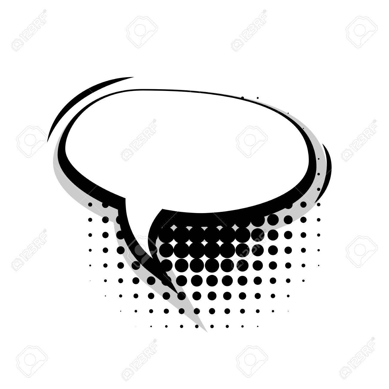 Blank Template Comic Speech Oval Lines Bubble Halftone Dot ...
