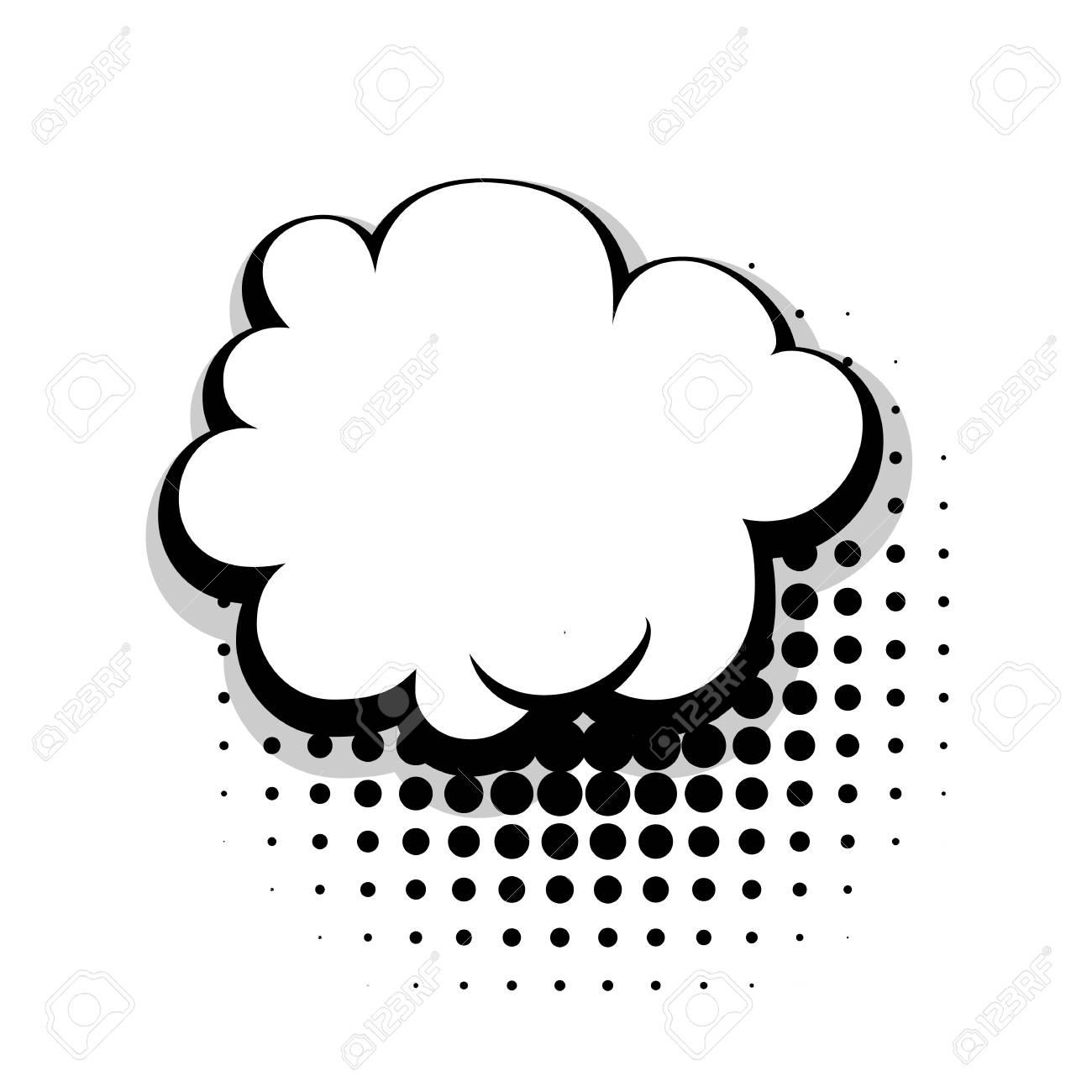 Blank Template Comic Speech Cloud Bubble Halftone Dot Background ...