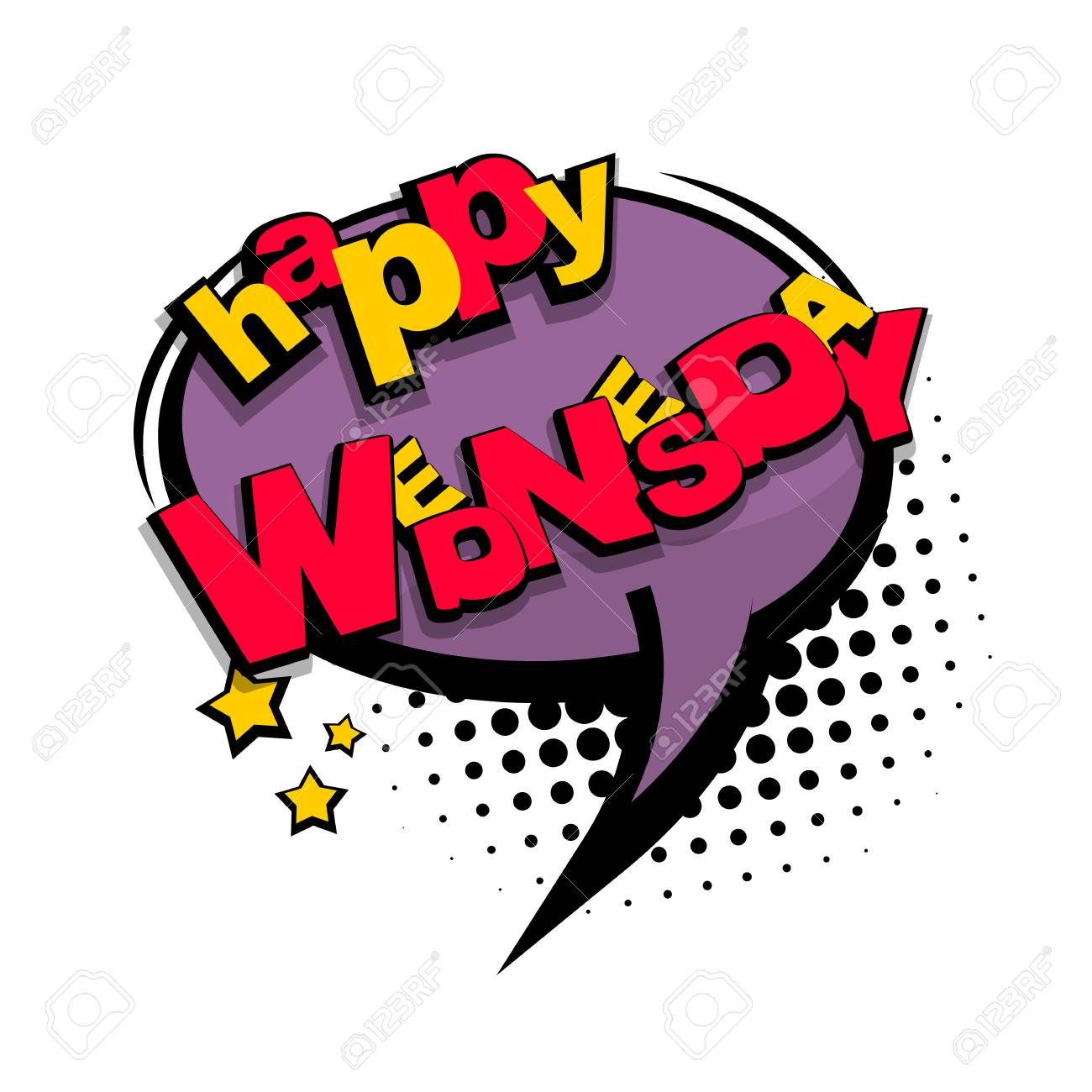 Comic Cartoon Text Happy Wednesday Royalty Free Cliparts Vectors