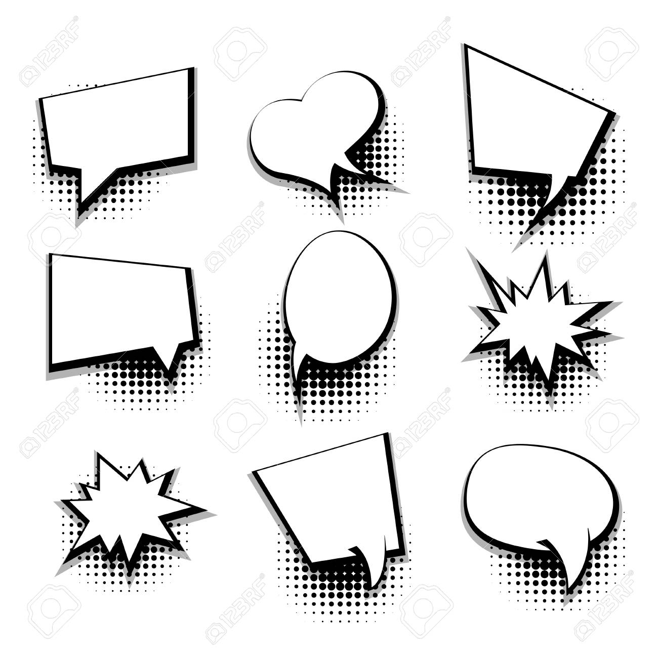 Collection Blank Comic Text Template Speech Bubble Royalty Free