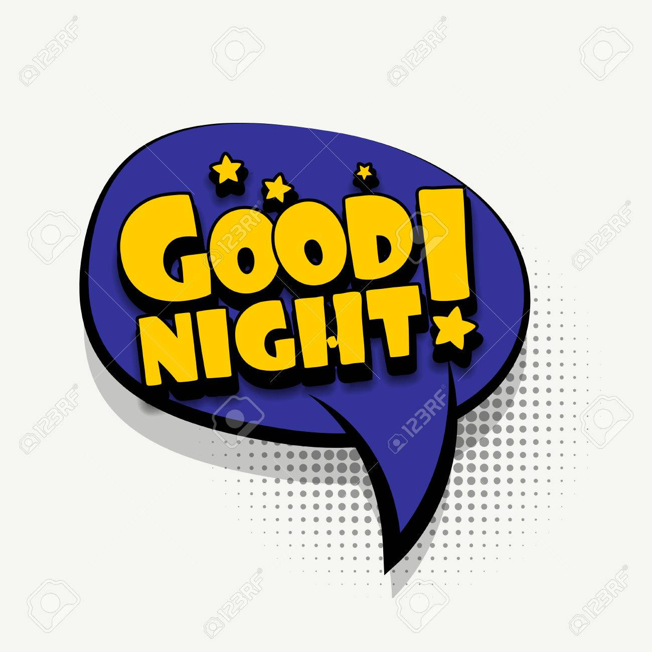 Lettering Good Night Wishes Comics Book Balloon Bubble Icon