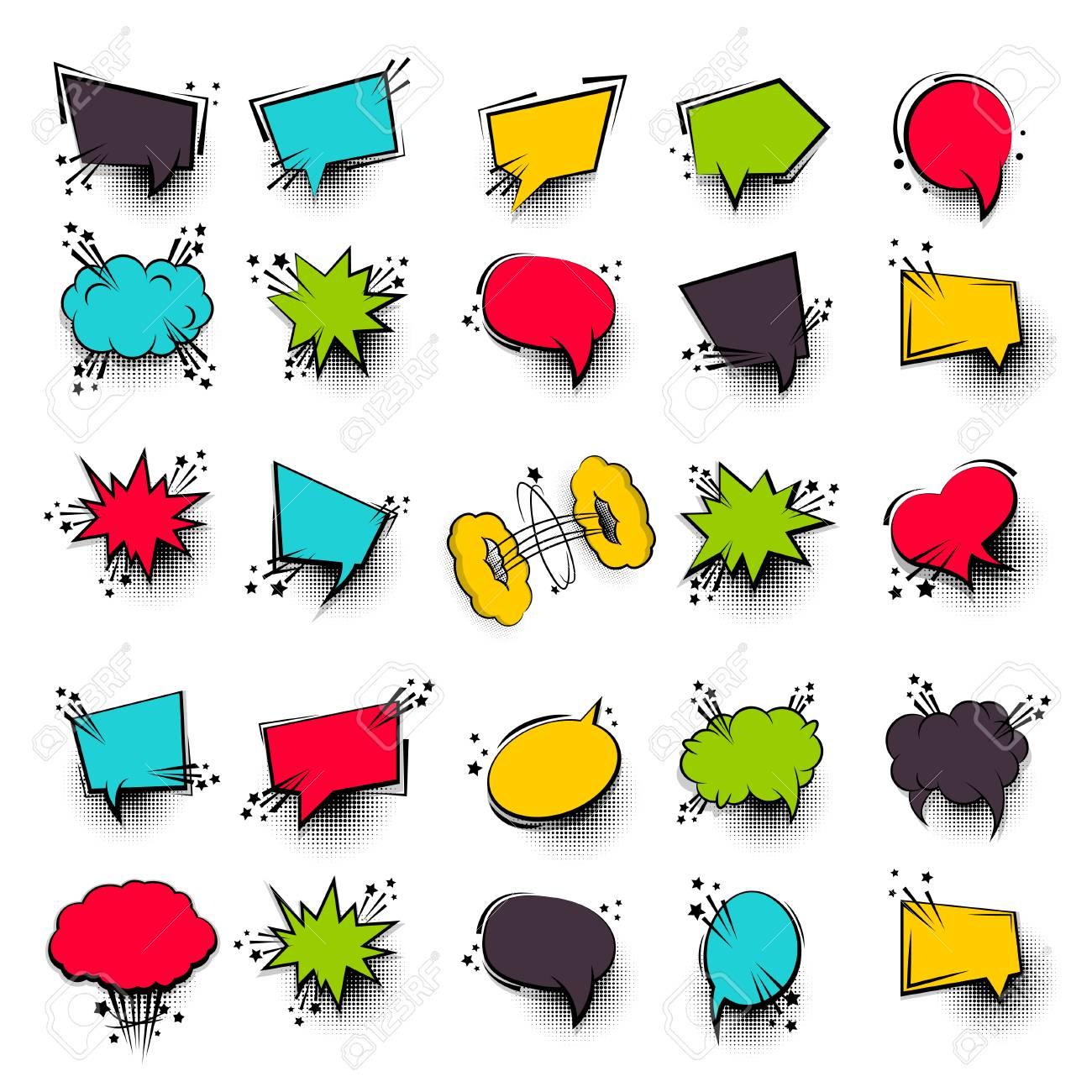 Divertido Conjunto 25 Cuadro De Diálogo De Texto De Dibujos Animados De Cómic Nube Vacía De Color Banner De Venta Burbuja En Blanco Colorida Del