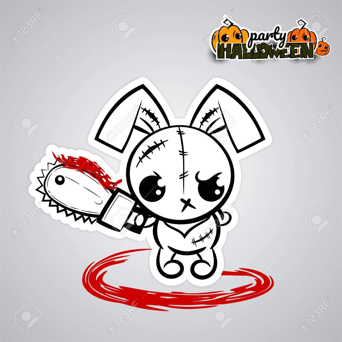 Halloween Pop.Halloween Evil Bunny Voodoo Doll Pop Art Comic
