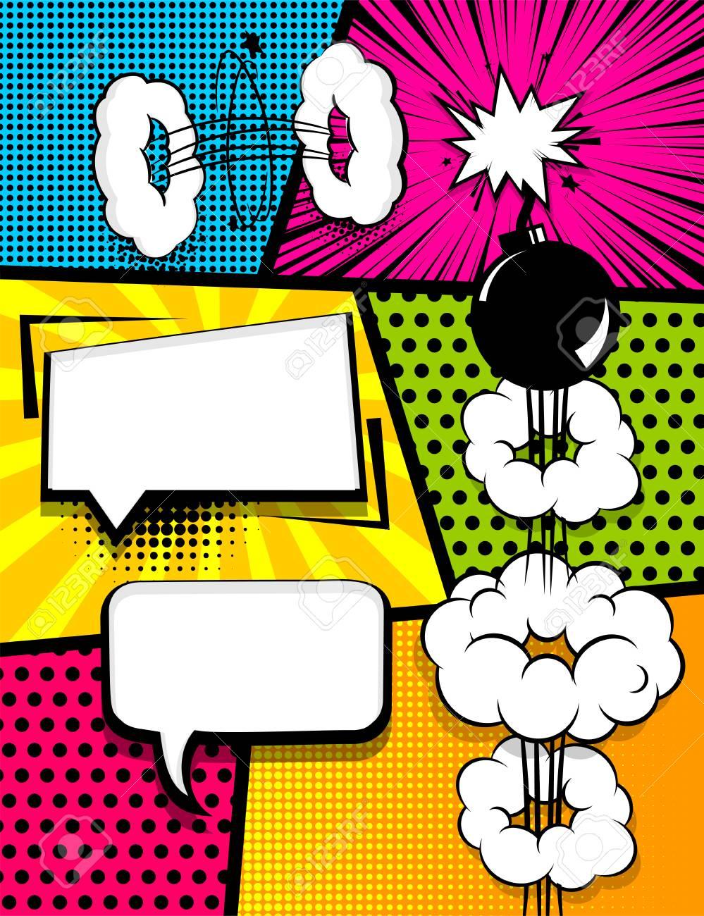 Vertical Pop Art Comics Book Magazine Cover Template Cartoon