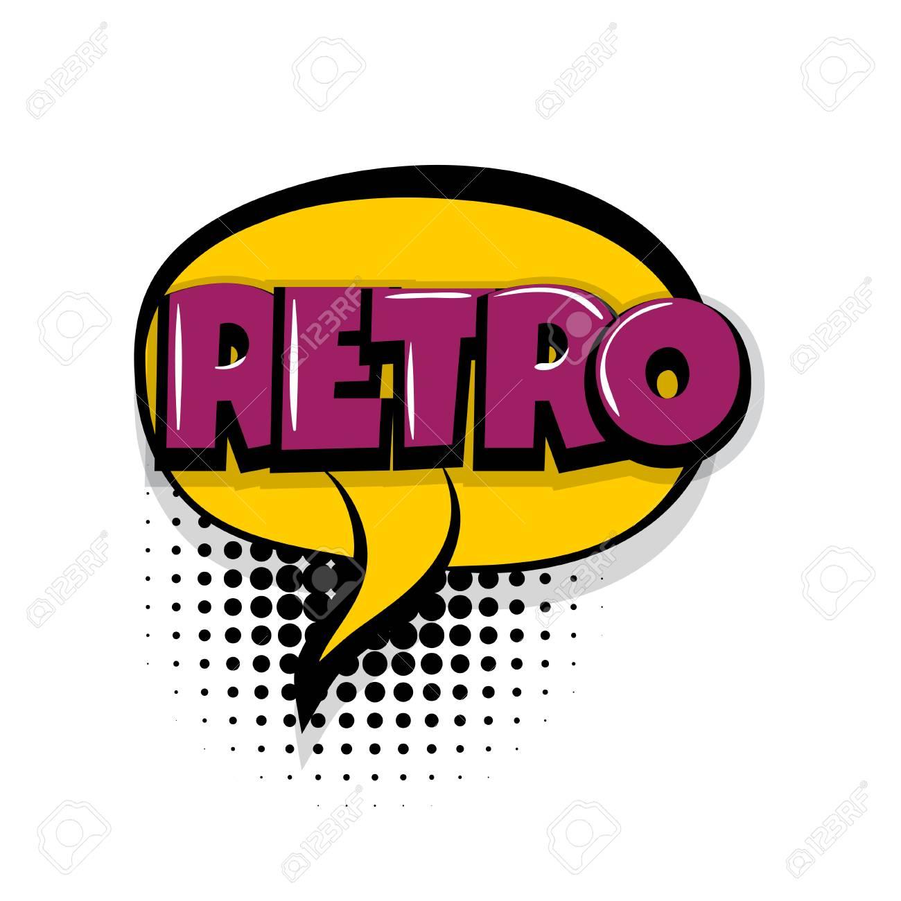 retro vintage comic text speech bubble balloon pop art style