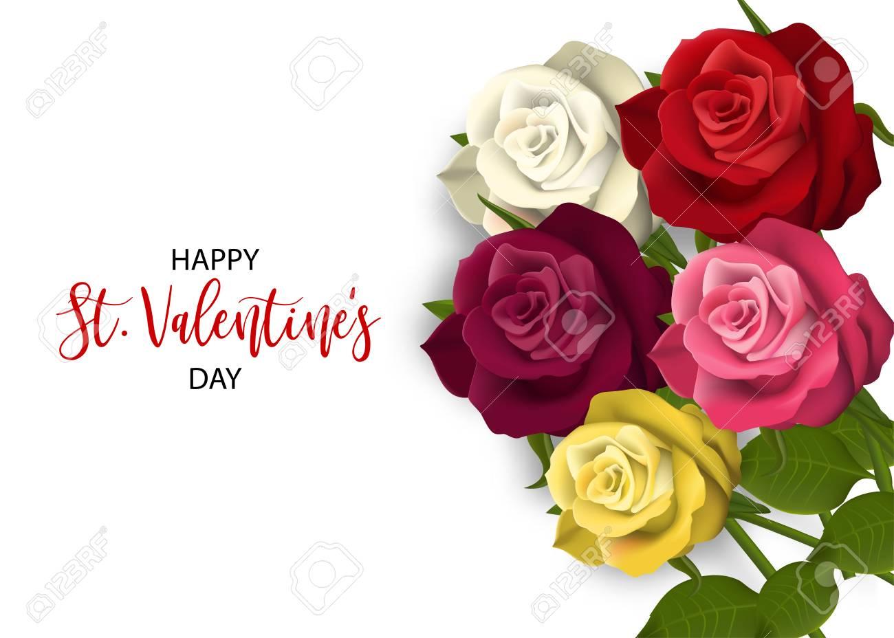Carte De Jour De St Valentine Rouge Multicolore Realiste Rouge