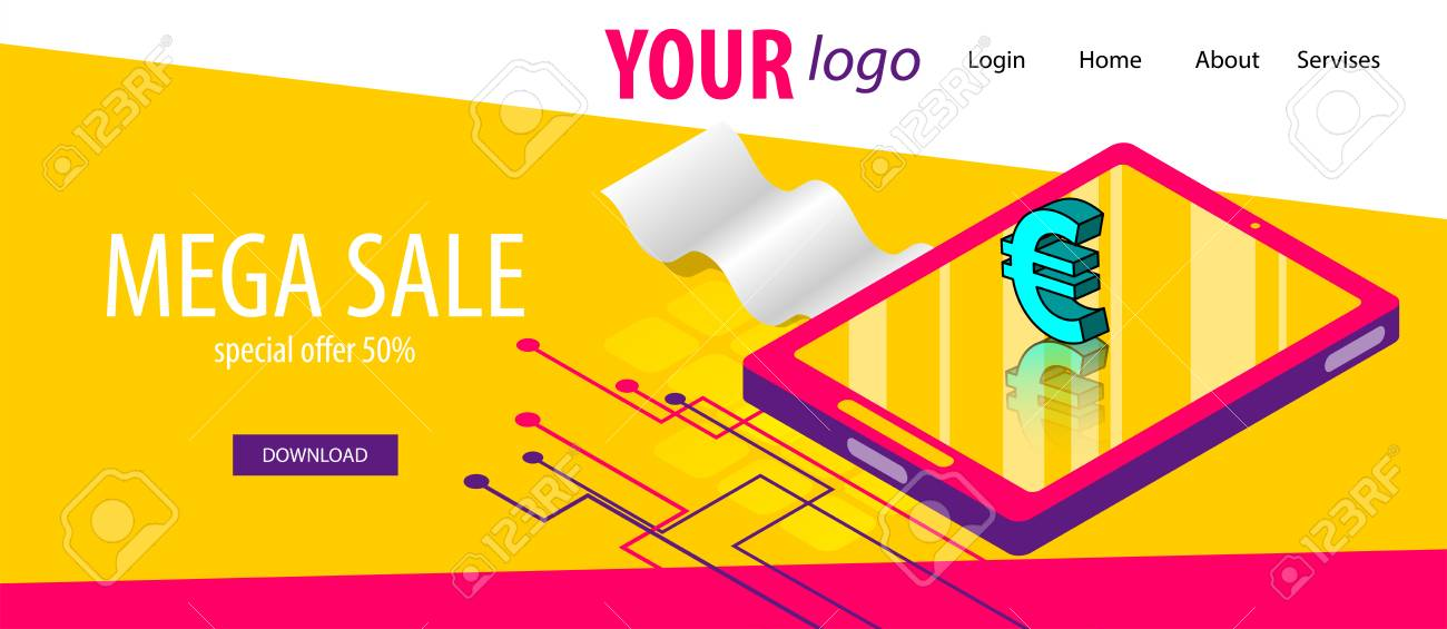 Isometric bank check banner business flat site background  Header