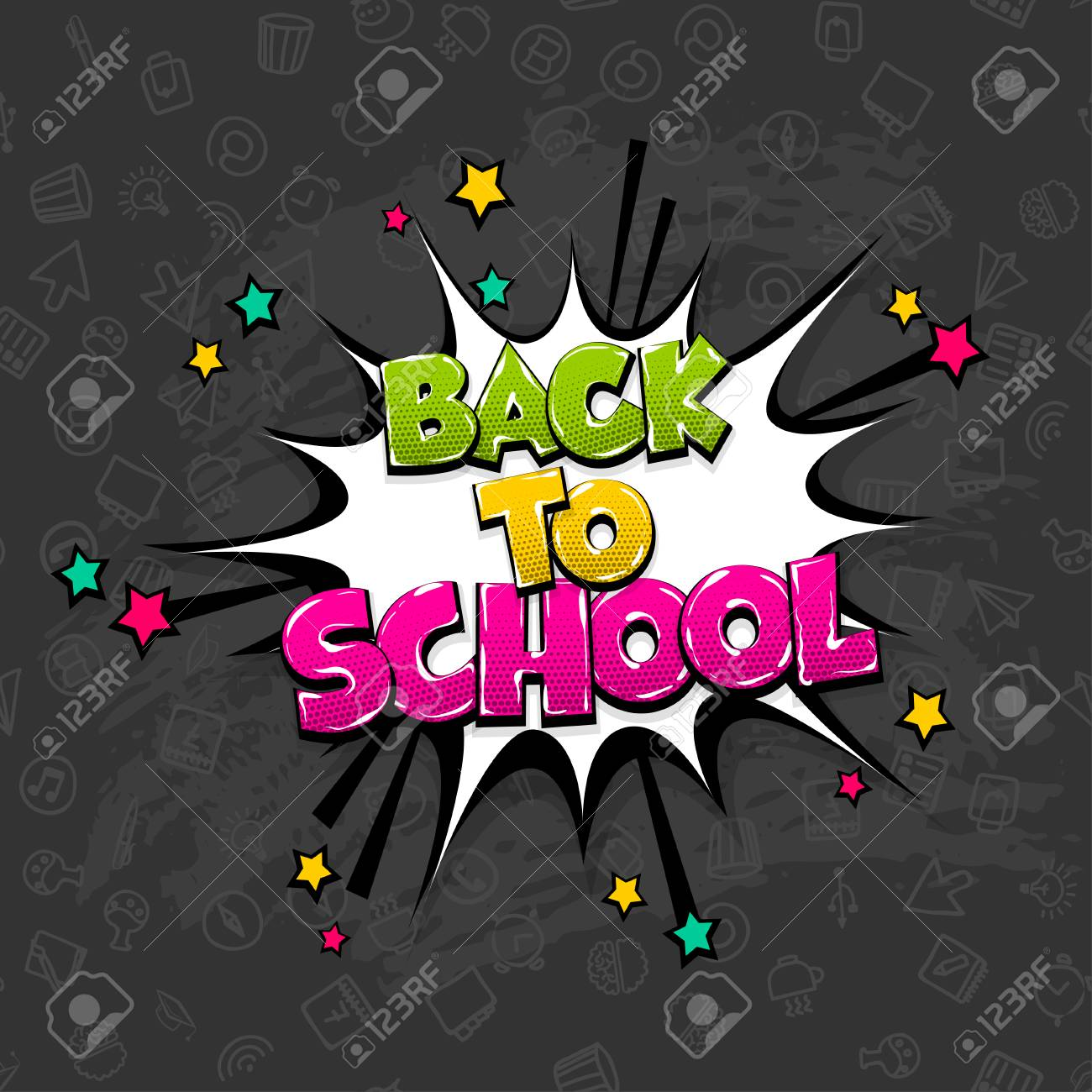 Back to school comic text pop art  Funny sound effect advertise