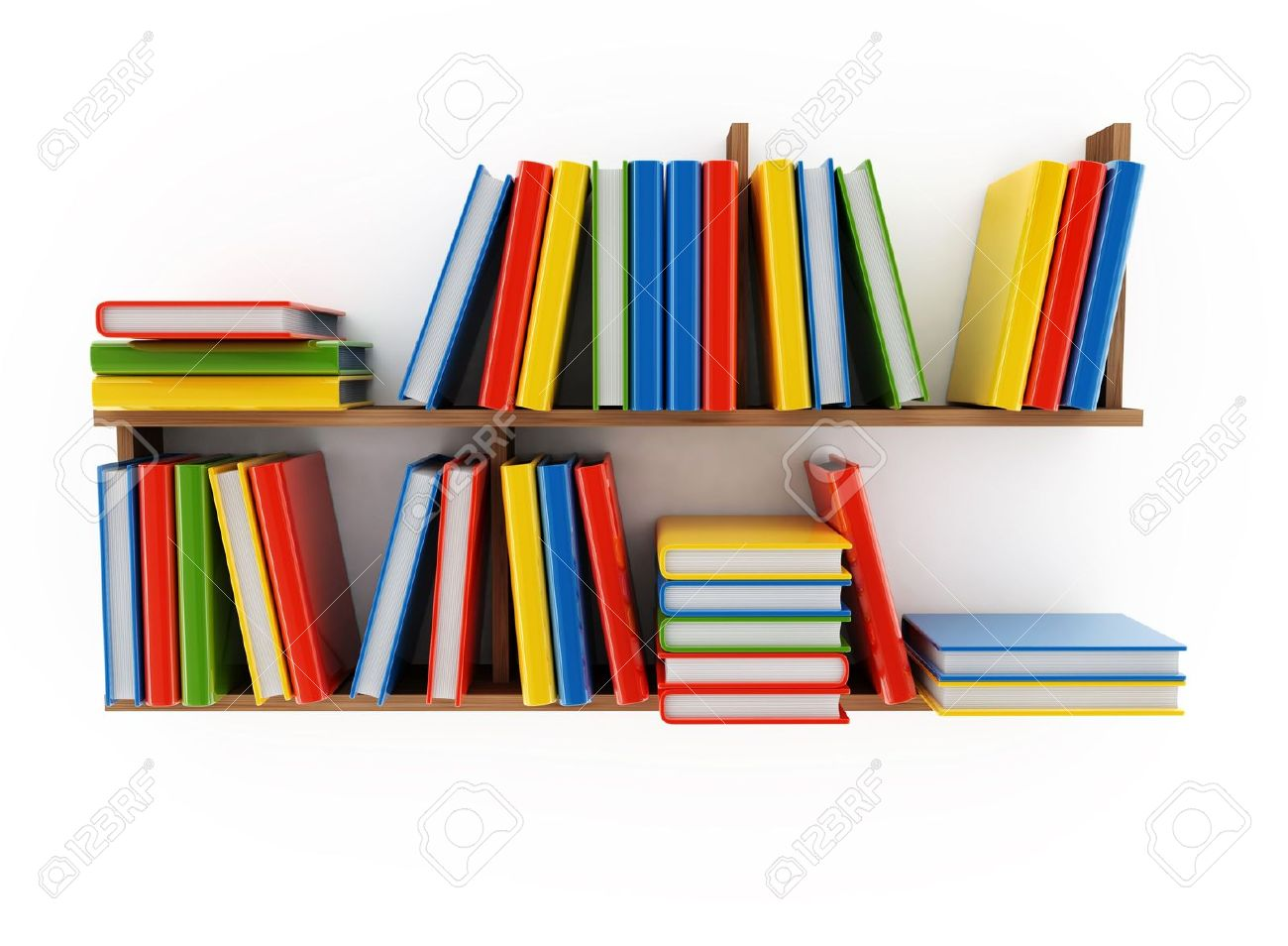 Book Shelf With Various Books On A White Background Stock Photo