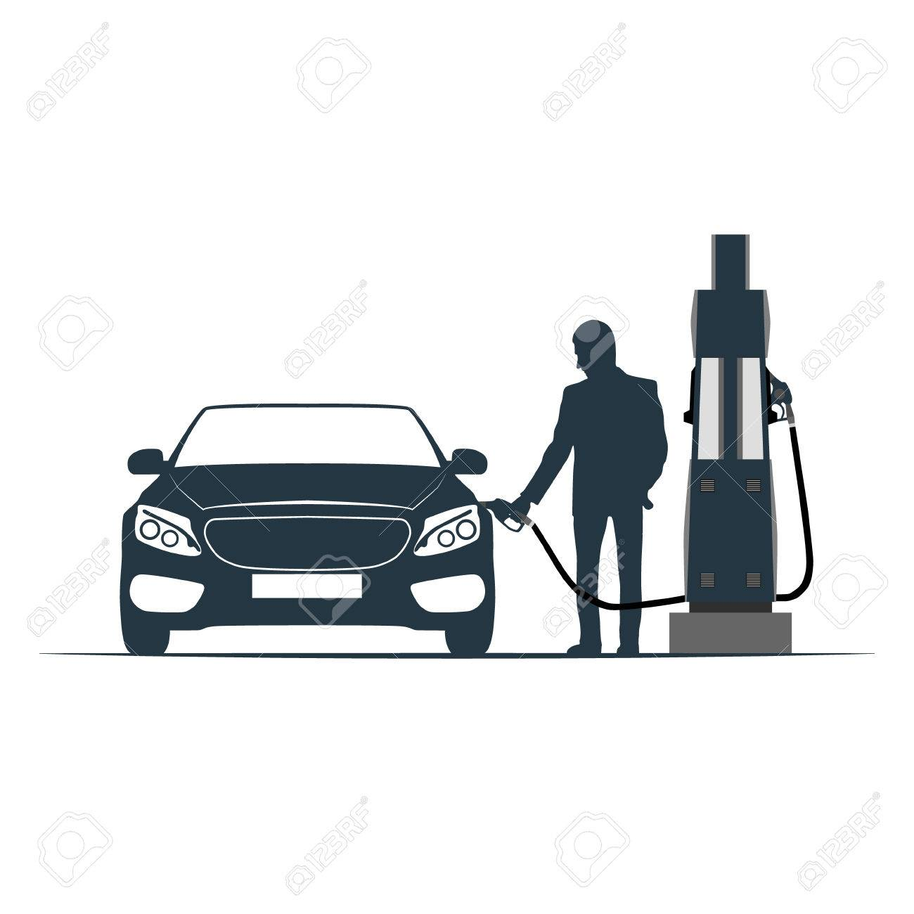 The Car Is Recharged At The Gas Station Vector Illustration