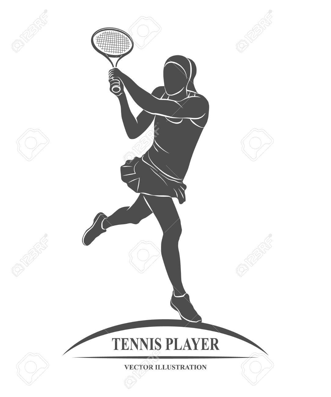 Icon tennis player with a racket. illustration. - 59784799
