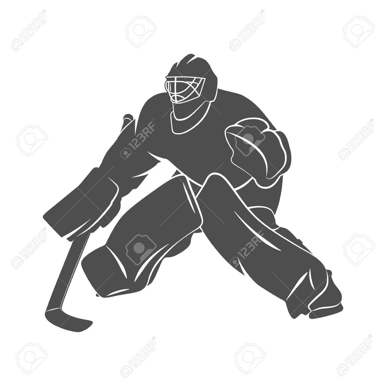 Silhouette Hockey Goalie Player On A White Background Photo Stock