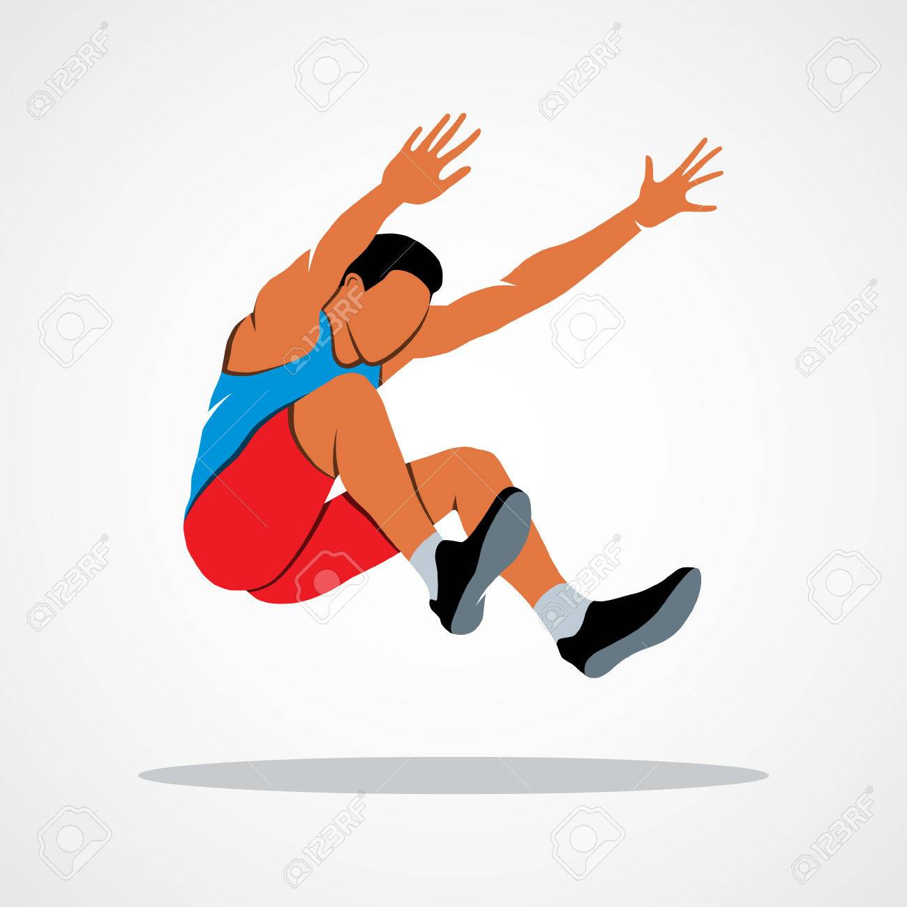 Illustration long jump trajectory the athlete jumps branding identity corporate logo design template isolated on a white background photo illustration