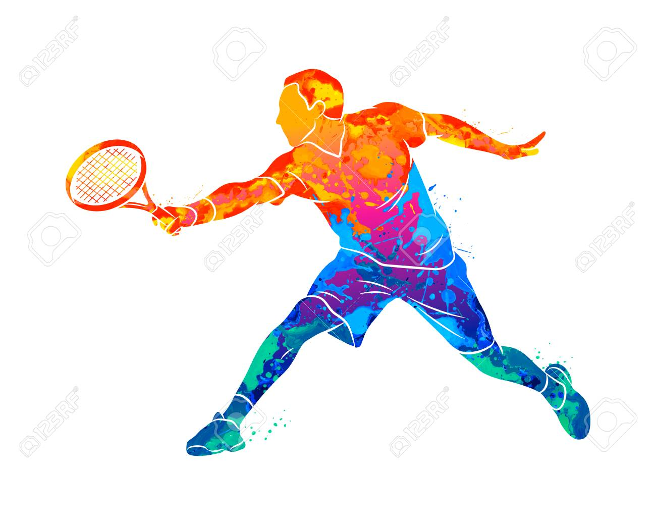 Abstract tennis player with a racket from splash of watercolors. Vector illustration of paints - 125888167