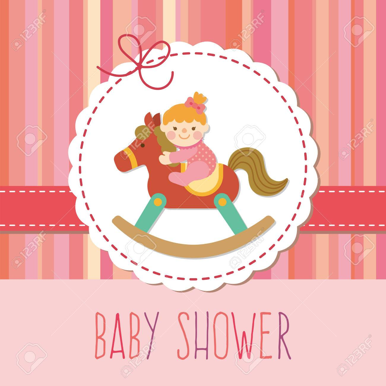 Baby Girl On Wooden Rocking Horse Royalty Free Cliparts, Vectors ...