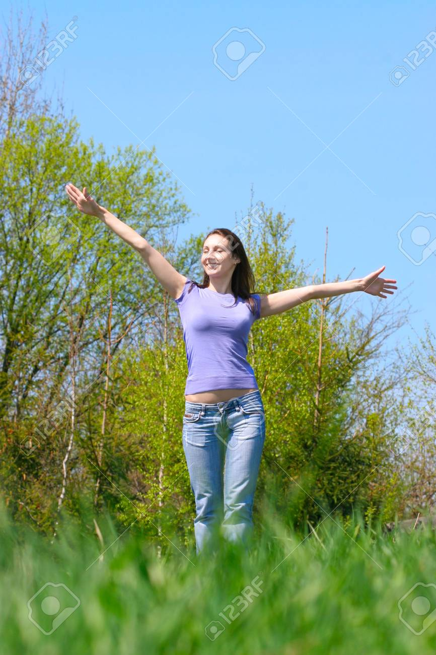 happy girl on the meadow Stock Photo - 4767232