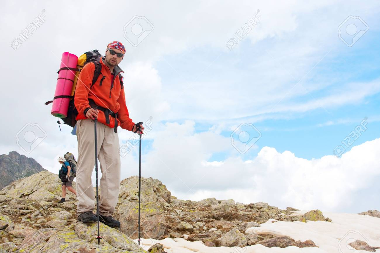 Hiker in Caucasus mountains Stock Photo - 5673044