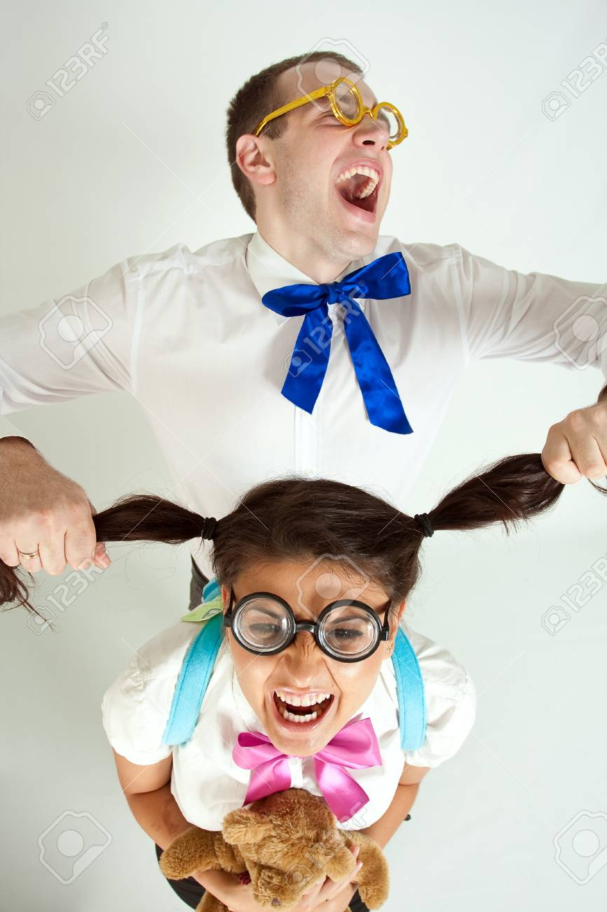Two happiness fun students on a white background Stock Photo - 7356719