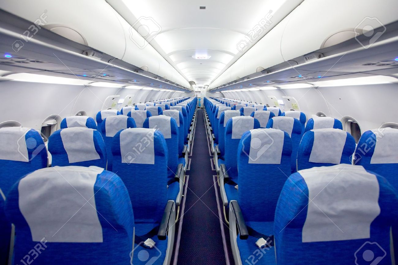 Cabin With Empty Chairs In The Airplane Stock Photo   13459866