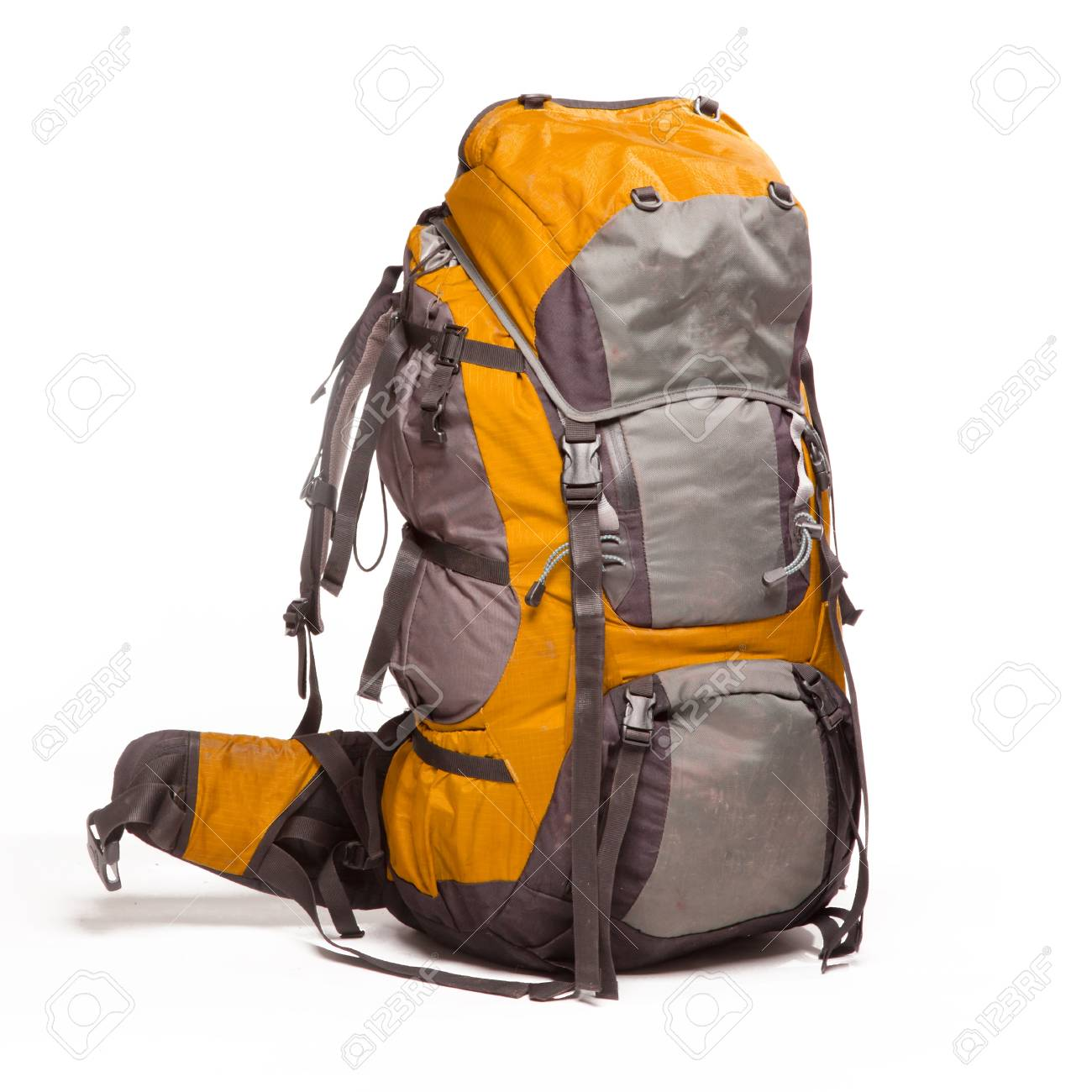 Tourist backpack on white background Stock Photo - 18671596 56b73bcb941a5