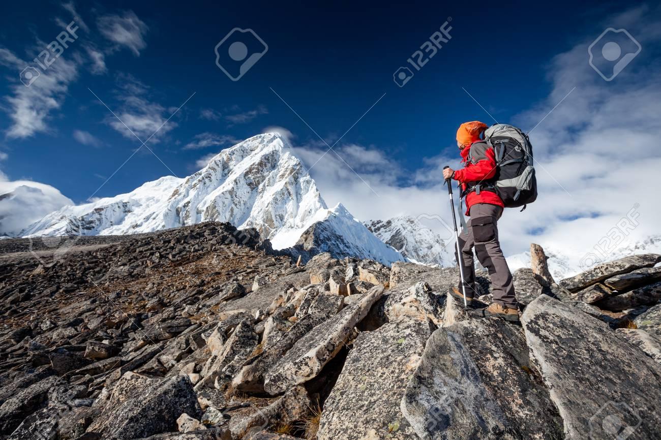 Hiker on the trek in Himalayas, Khumbu valley, Nepal - 22484948