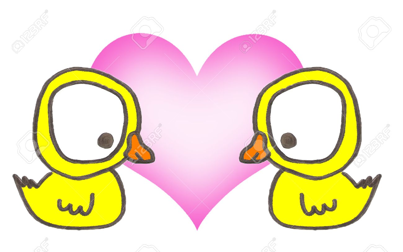 Two yellow duck in love on withe background Stock Photo - 19423932