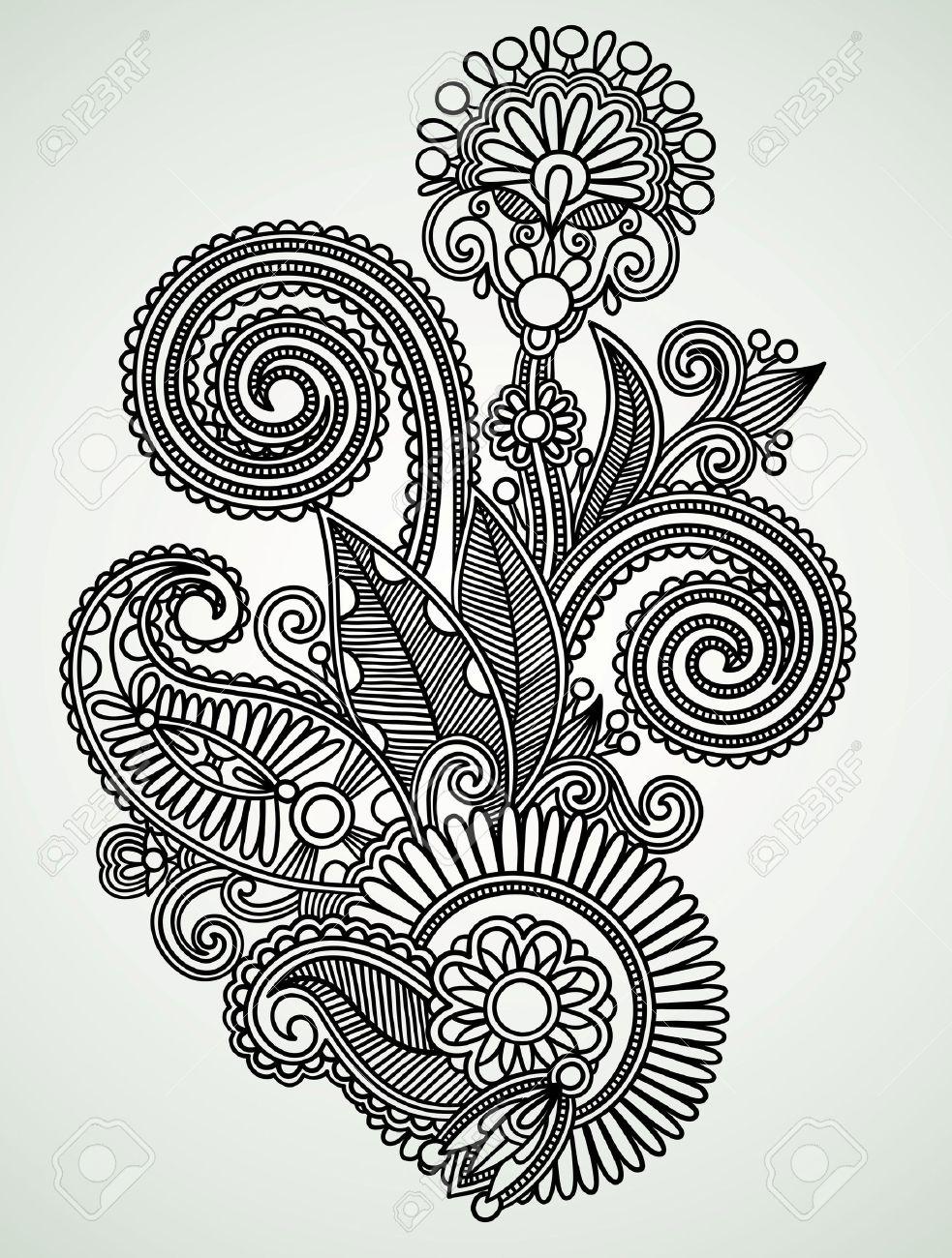 Hand draw line art ornate flower design Stock Vector - 10798001