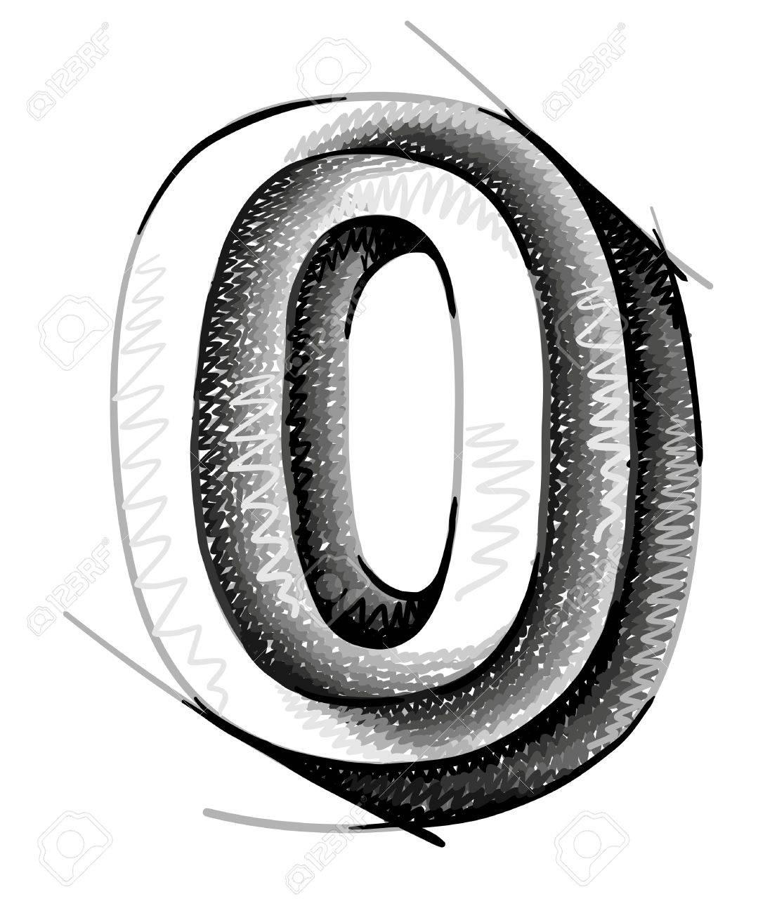 sketch numerals, hand drawn number zero Stock Vector - 11159627