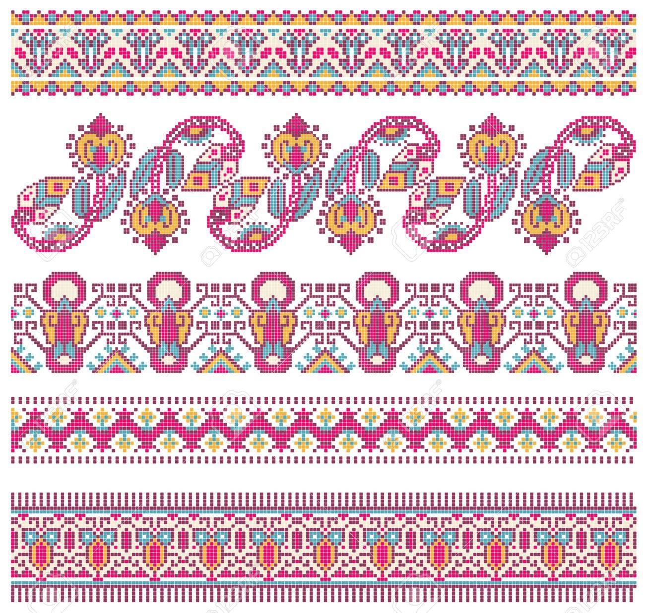 embroidered good like handmade cross-stitch ethnic Ukraine pattern Stock Vector - 11189106