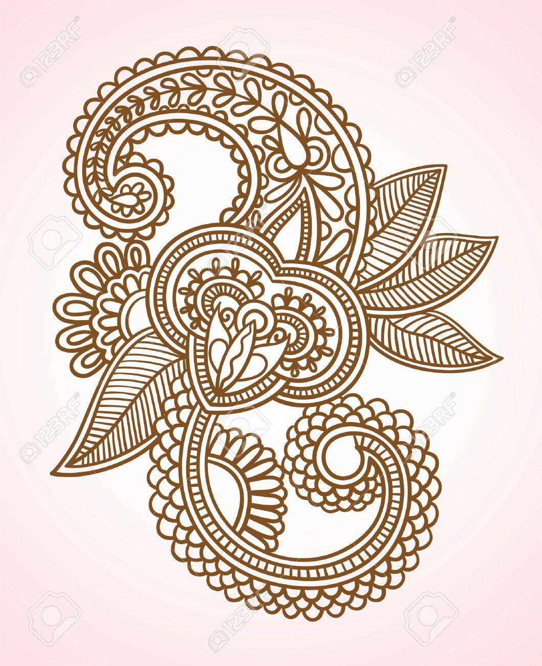 Stock Vector Illustration: Hand-Drawn Abstract Henna Mendie Flowers Doodle Vector Illustration Design Element Stock Vector - 11188935