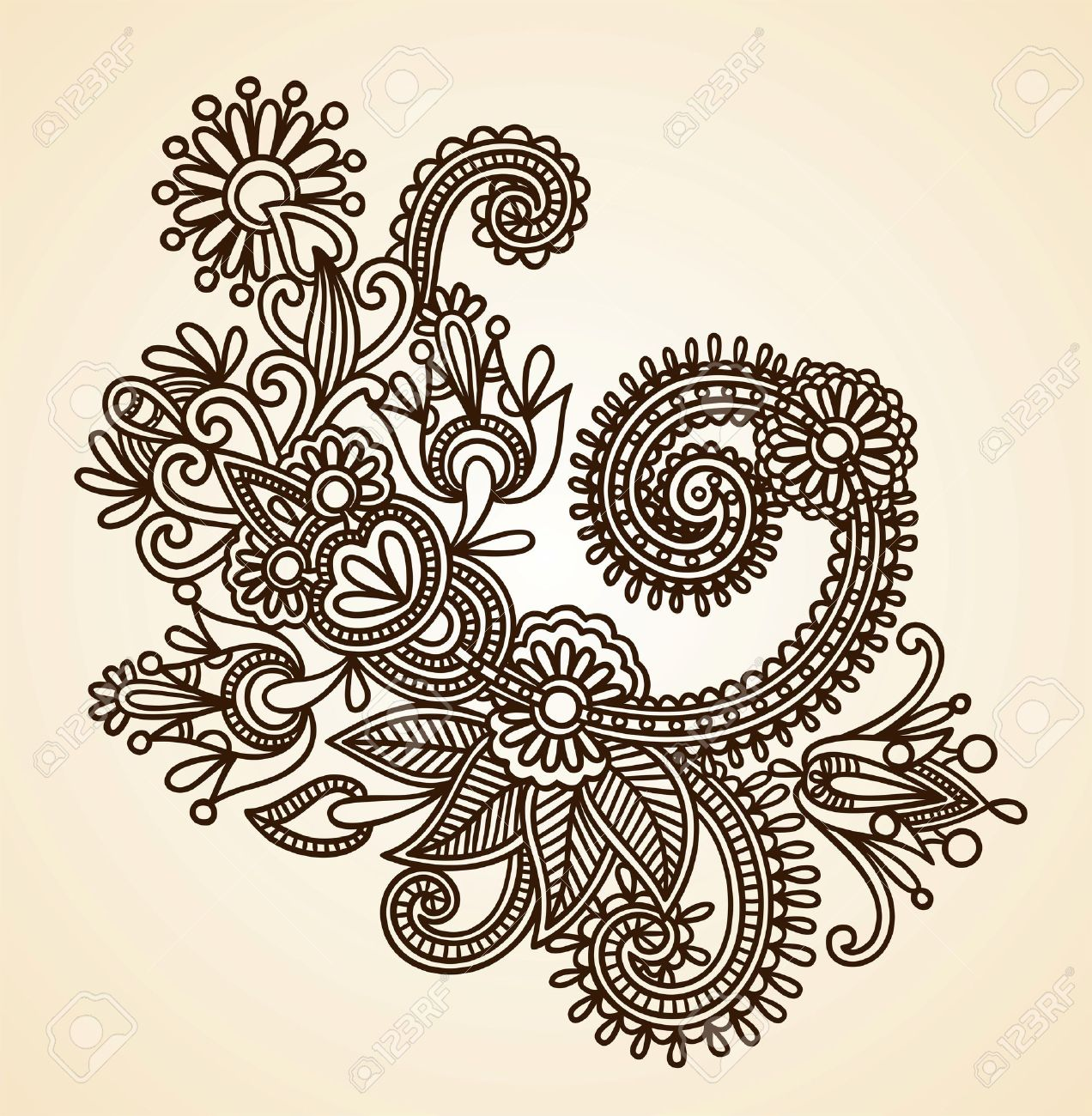 Stock Vector Illustration Hand Drawn Abstract Henna Mendie Flowers