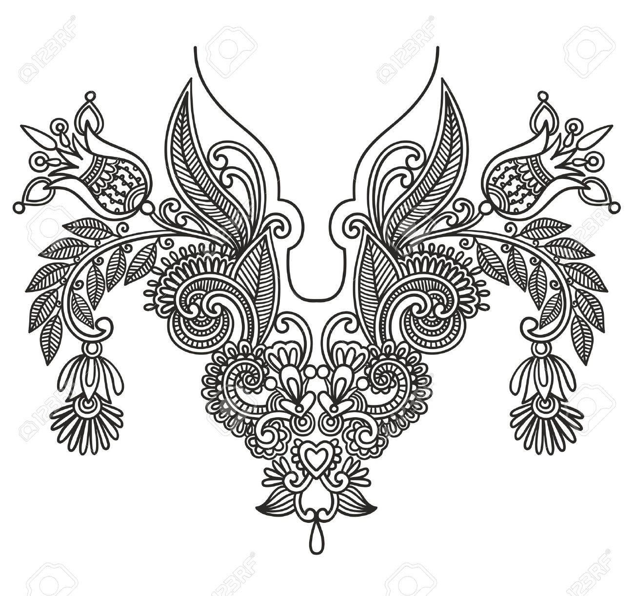 Neckline embroidery fashion Stock Vector - 11188960