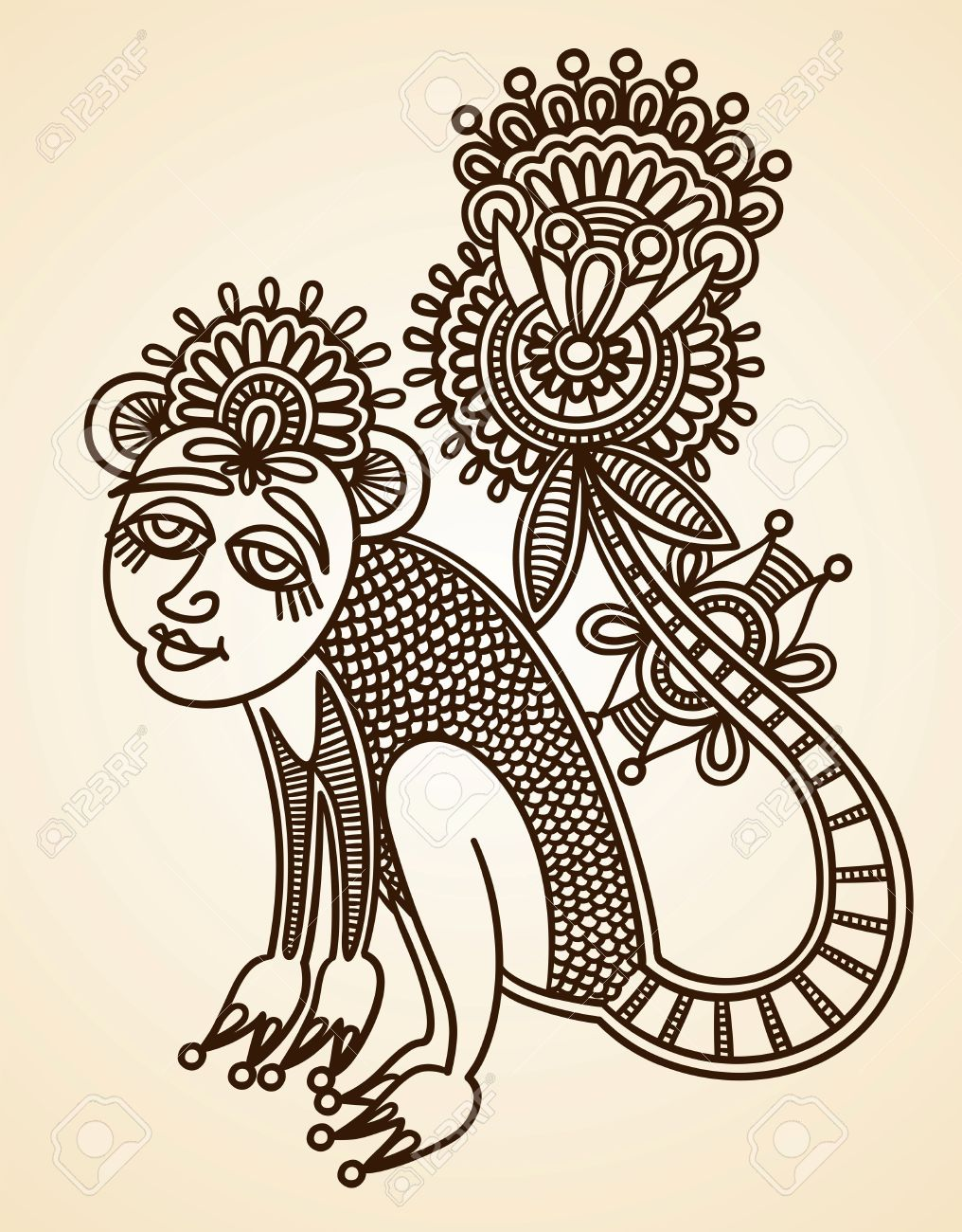 Hand Drawn Abstract Henna Mendie Animals Doodle Vector Illustration