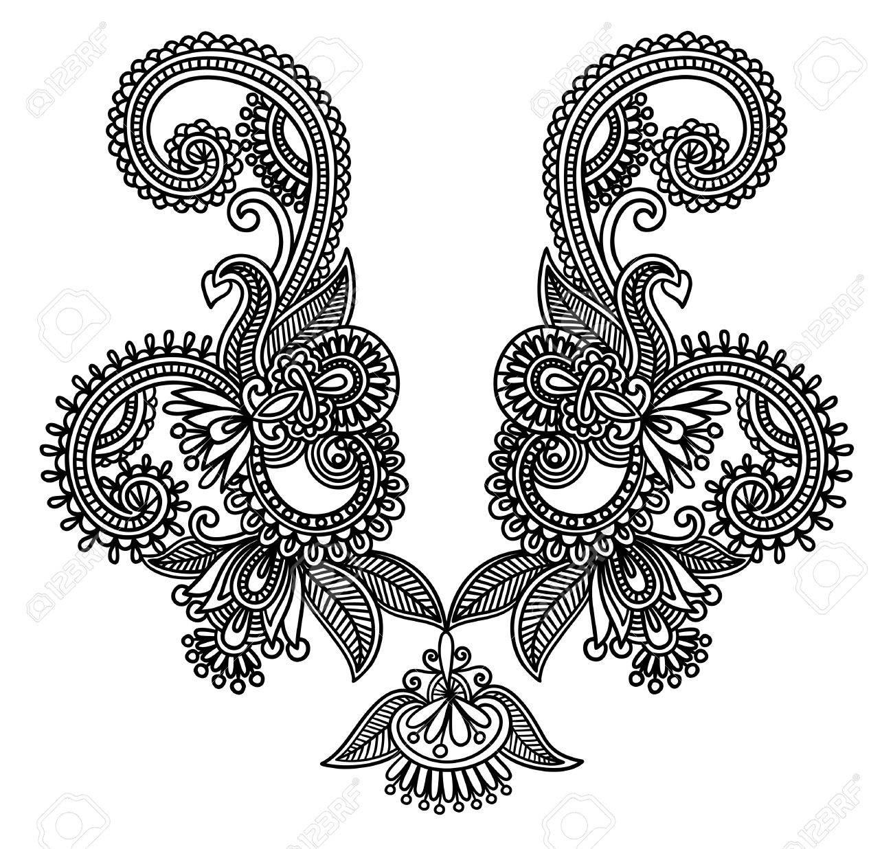 Neckline embroidery fashion Stock Vector - 11189220