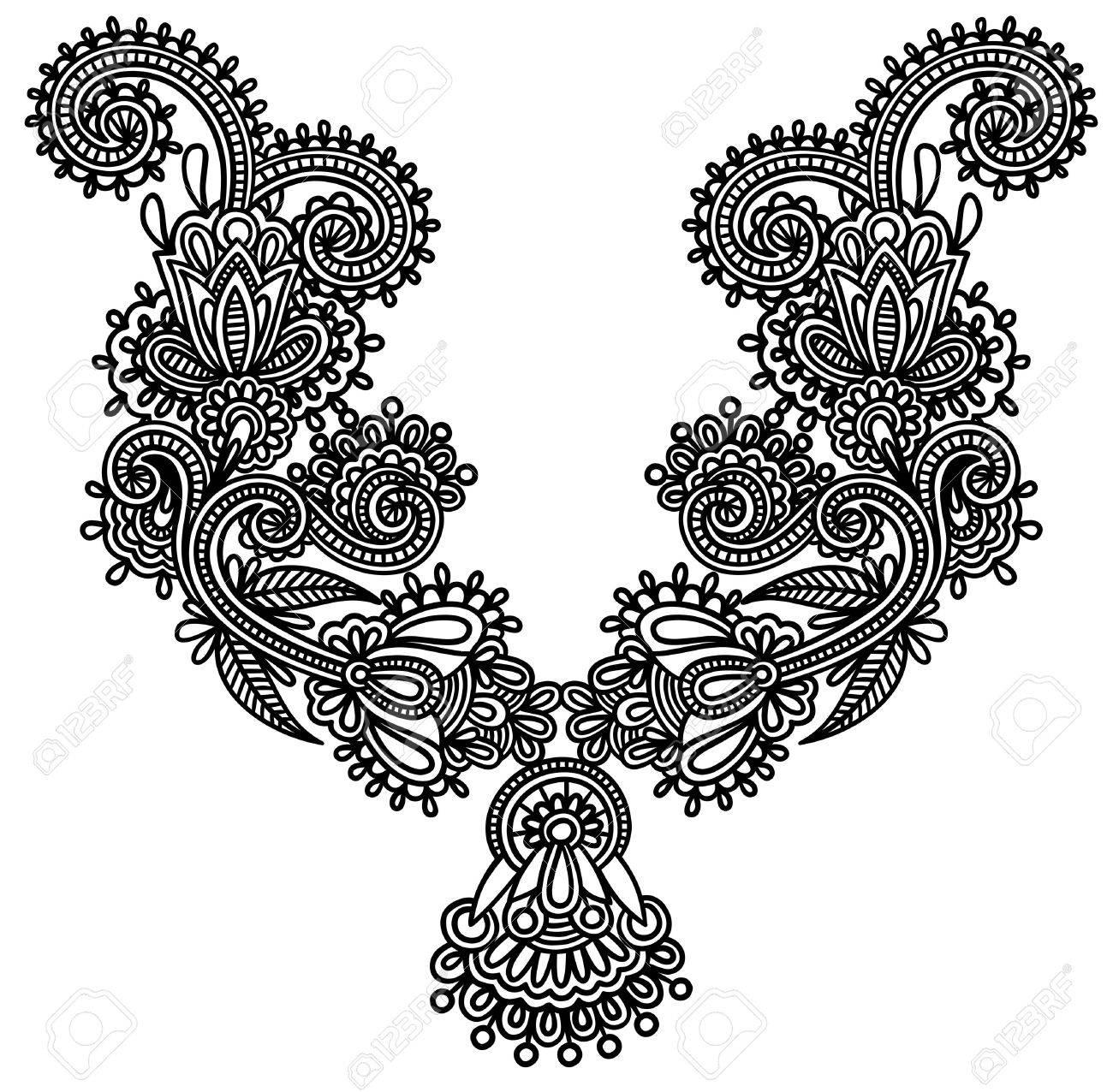 Neckline embroidery fashion Stock Vector - 11189212