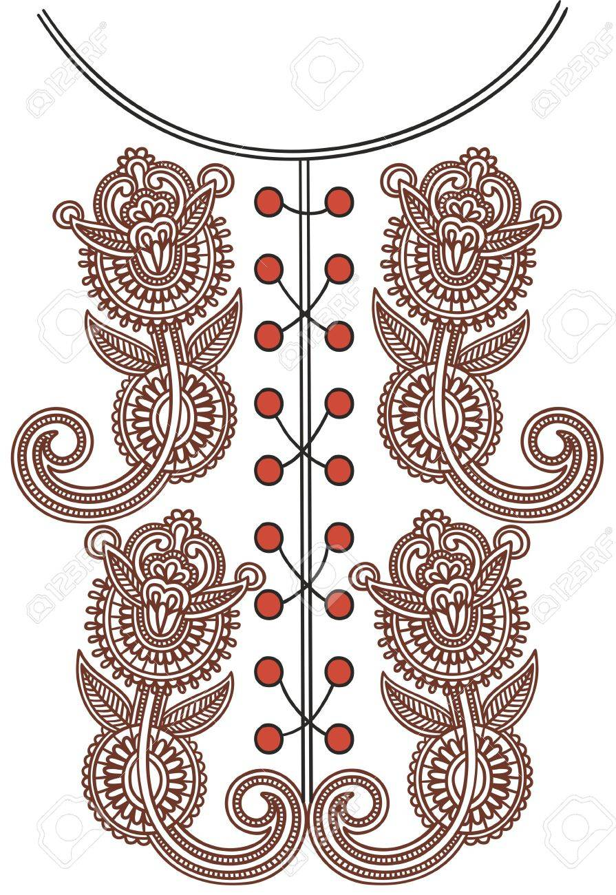 Neckline embroidery fashion Stock Vector - 11189186