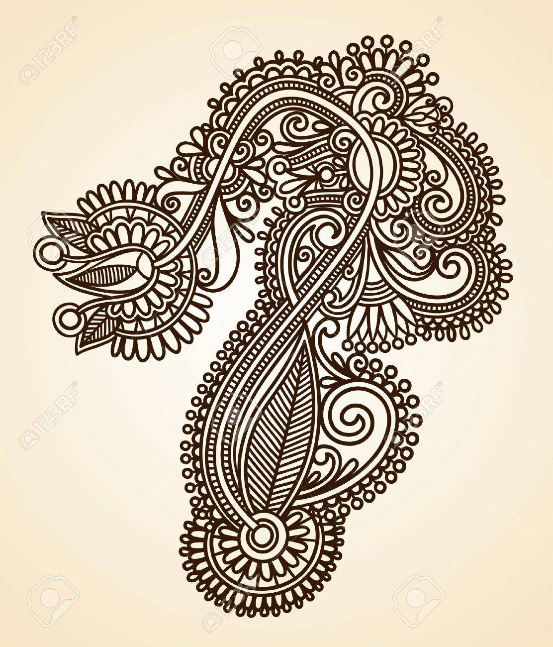 Hand-Drawn Abstract Henna Mendie Flowers Doodle Vector Illustration Design Element Stock Vector - 11189137