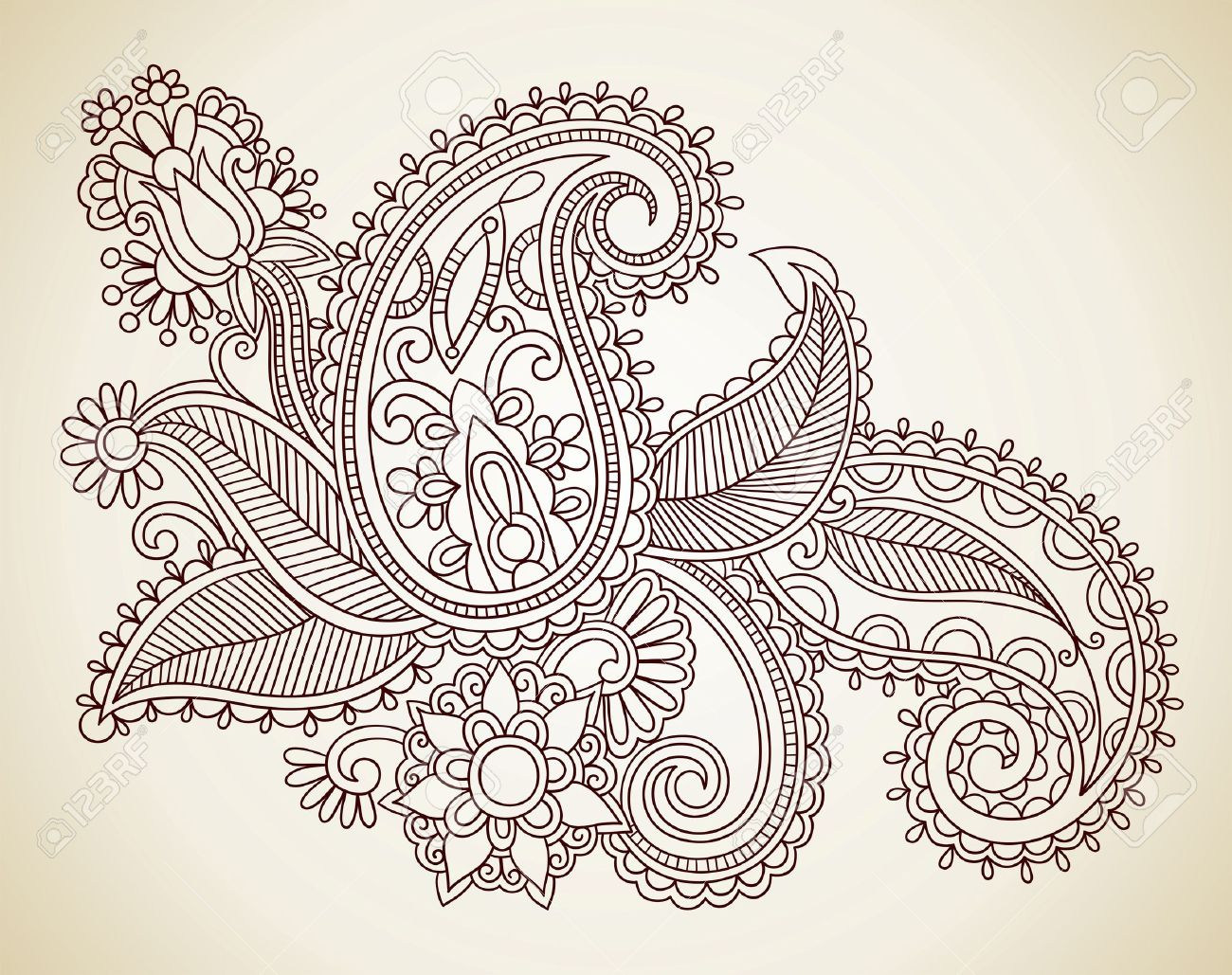 hand drawn abstract henna mendie flowers doodle vector