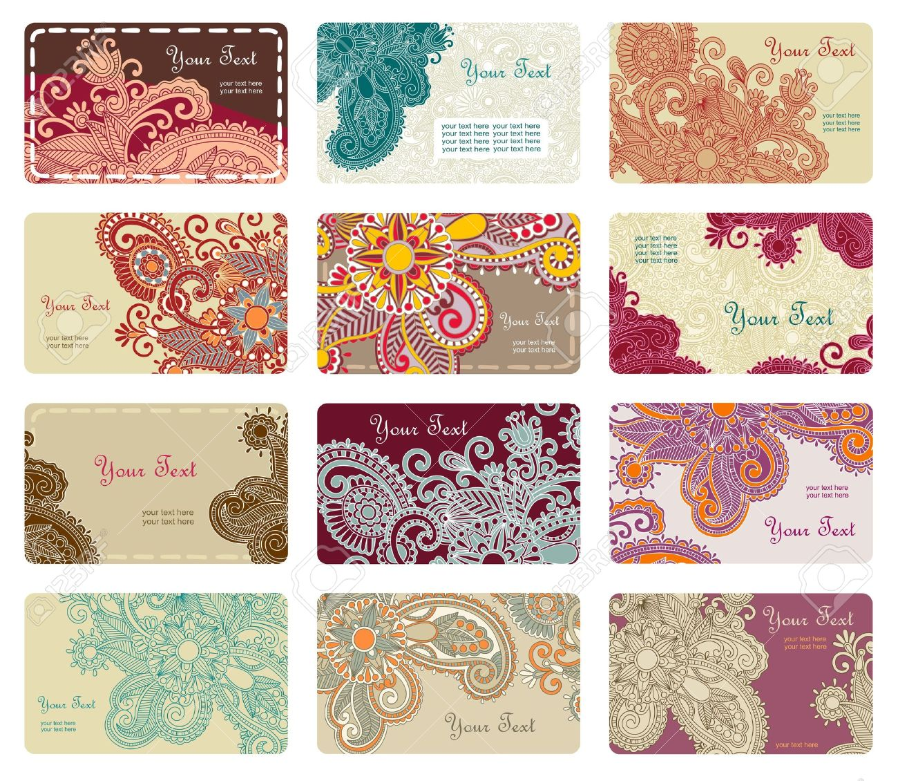 Vector floral business card set royalty free cliparts vectors and vector vector floral business card set reheart Choice Image