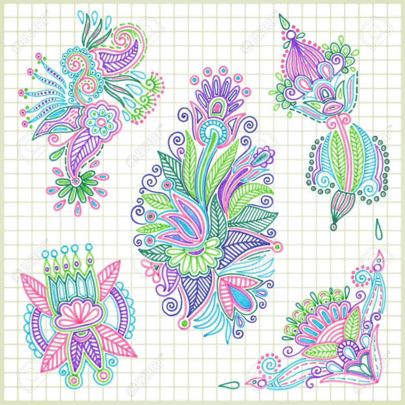 Vector  Hand Draw Doodle Vector Flower Element Set