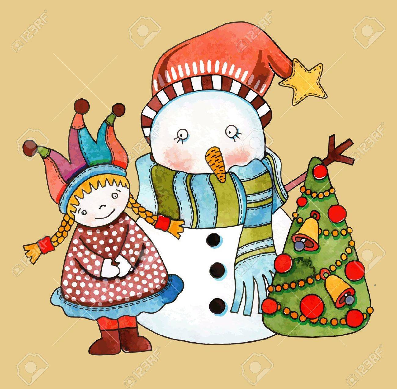 Christmas design. Watercolor snowman with girl and christmas tree Stock Vector - 11638847