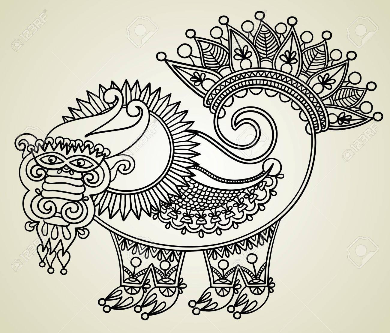 hand draw sketch unique dragon, symbol of 2012 year. Ukrainian traditional style. Stock Vector - 11638949